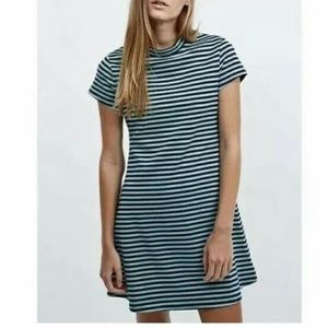 Free People Beach Striped Mini Dress Blue & Mint